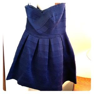 Beautiful navy. Strapless dress.